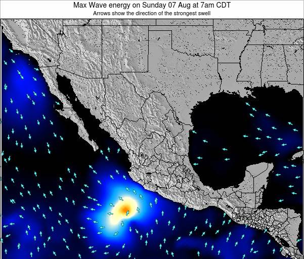 Mexico Max Wave energy on Thursday 23 Aug at 7am CDT map
