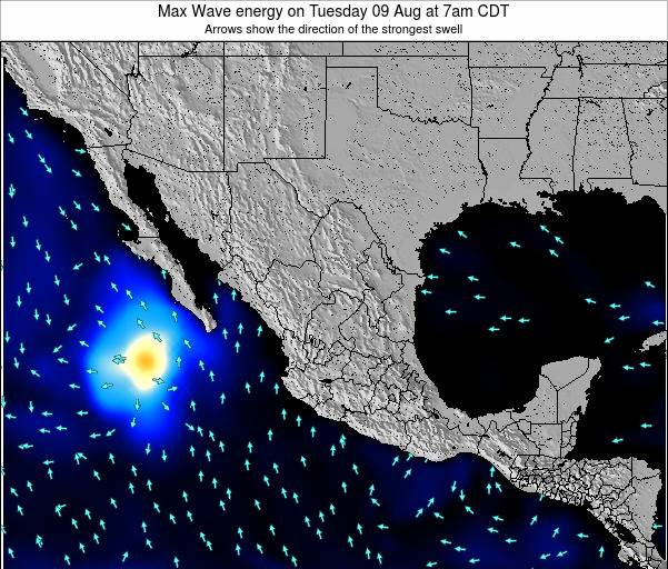 Mexico Max Wave energy on Saturday 24 Mar at 6am CST map