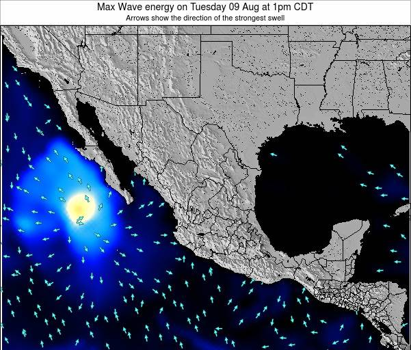Mexico Max Wave energy on Wednesday 21 Nov at 6pm CST map