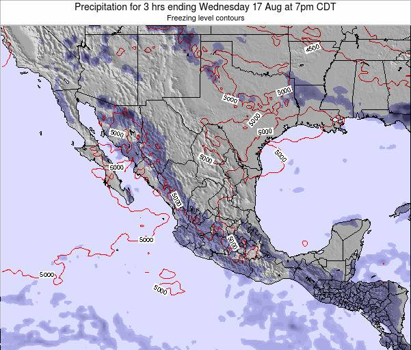 Mexico Precipitation for 3 hrs ending Monday 24 Jun at 1pm CDT map