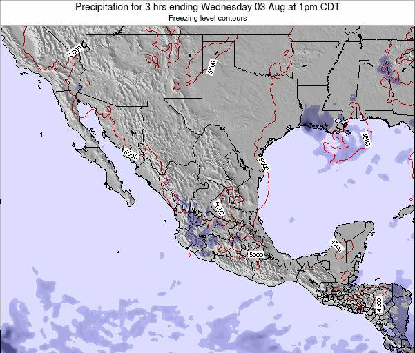 Mexico Precipitation for 3 hrs ending Wednesday 22 May at 7am CDT map
