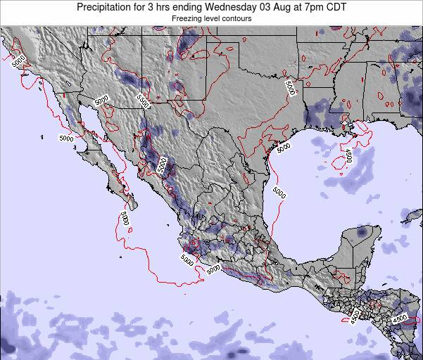 Mexico Precipitation for 3 hrs ending Monday 20 May at 1pm CDT map