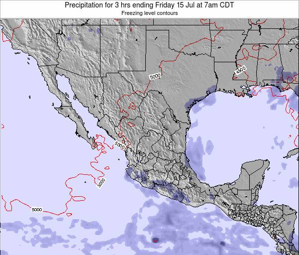 Mexico Precipitation for 3 hrs ending Monday 27 May at 7am CDT map