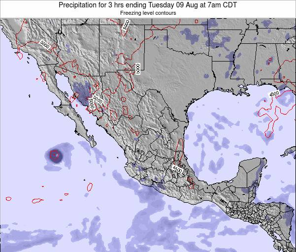 Mexico Precipitation for 3 hrs ending Friday 25 Apr at 7am CDT