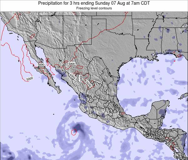 Mexico Precipitation for 3 hrs ending Tuesday 21 May at 7pm CDT