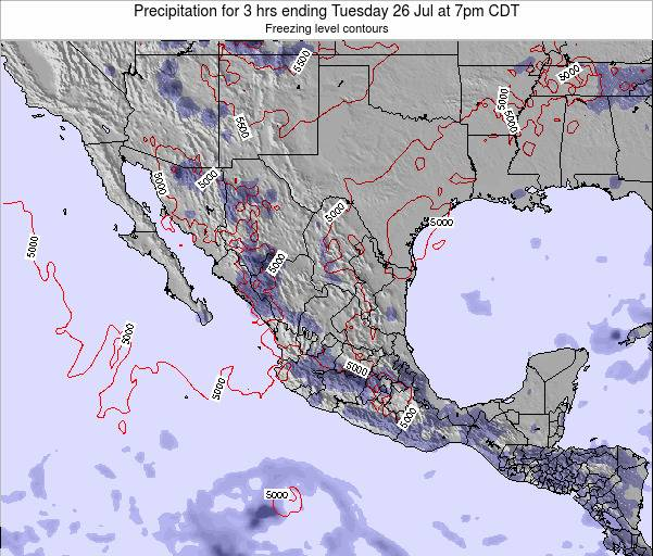 Mexico Precipitation for 3 hrs ending Sunday 08 Dec at 12am CST