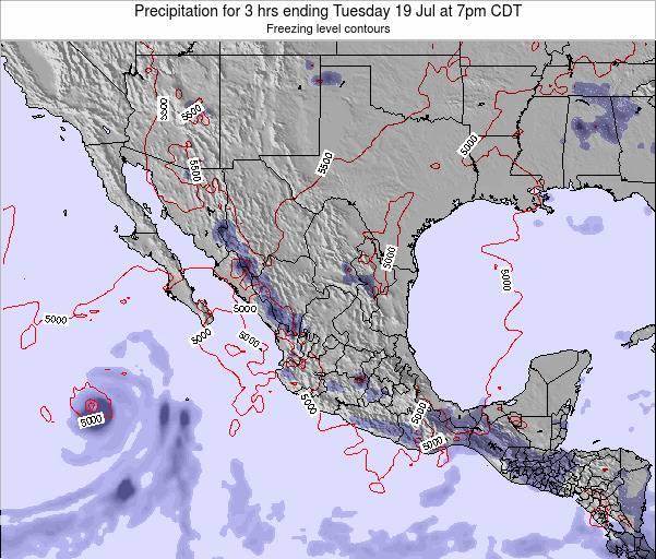 Mexico Precipitation for 3 hrs ending Monday 27 May at 1pm CDT