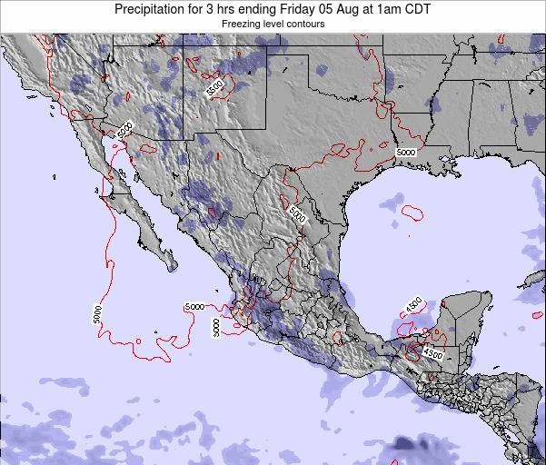 Mexico Precipitation for 3 hrs ending Tuesday 21 May at 1am CDT map