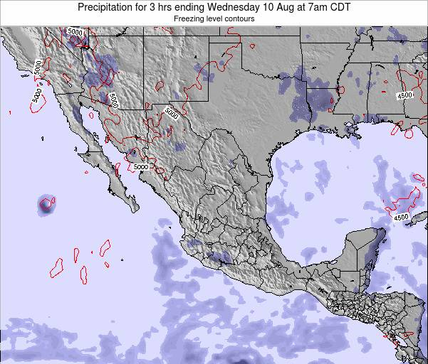 Mexico Precipitation for 3 hrs ending Saturday 25 May at 7pm CDT map