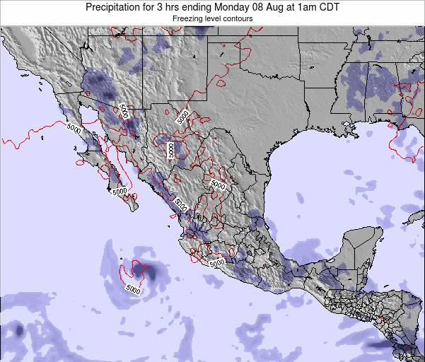 Mexico Precipitation for 3 hrs ending Friday 21 Jun at 1am CDT map