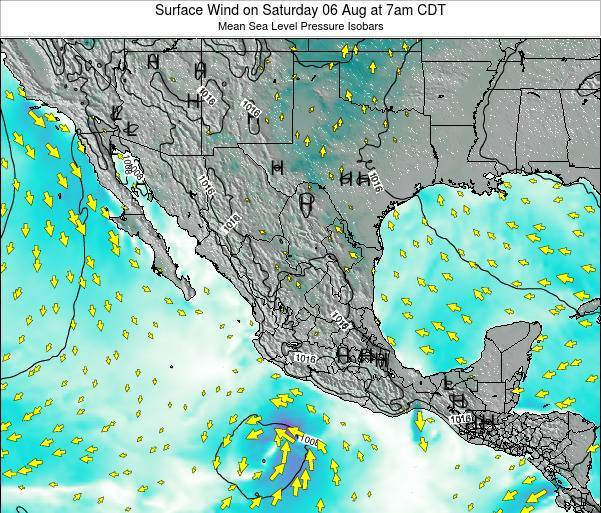 Mexico Surface Wind on Tuesday 21 May at 7pm CDT map