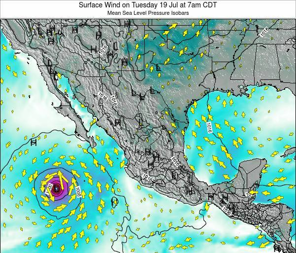 Mexico Surface Wind on Wednesday 29 May at 1am CDT map