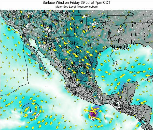 Mexico Surface Wind on Sunday 26 May at 7pm CDT map
