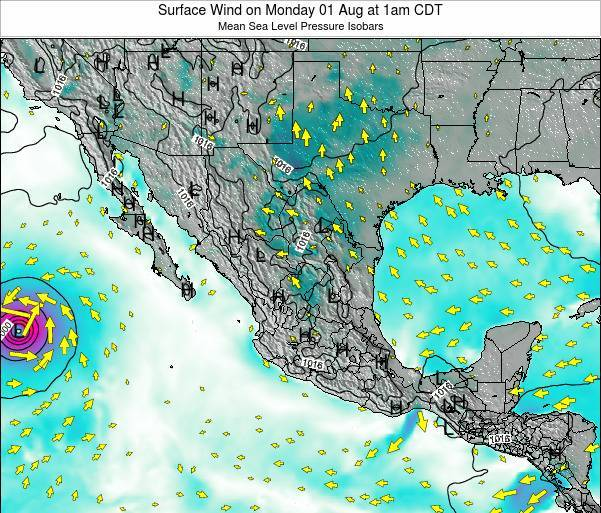 Mexico Surface Wind on Thursday 23 May at 1am CDT