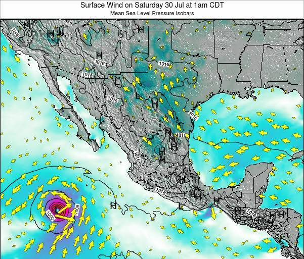 Mexico Surface Wind on Saturday 08 Mar at 12pm CST