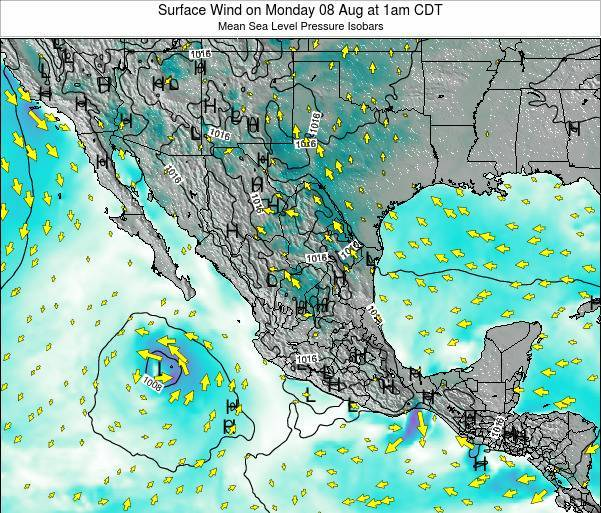 Mexico Surface Wind on Wednesday 11 Dec at 6am CST
