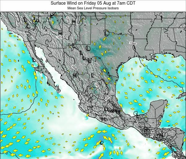 Mexico Surface Wind on Monday 28 Jul at 7am CDT
