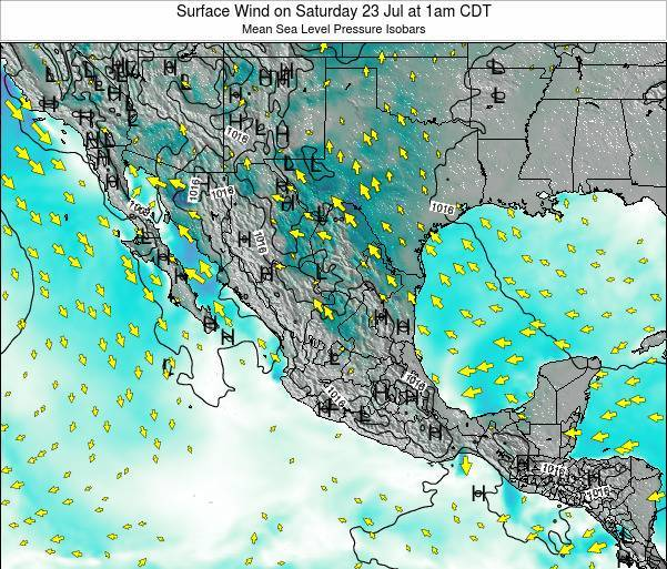 Mexico Surface Wind on Wednesday 23 Apr at 7am CDT