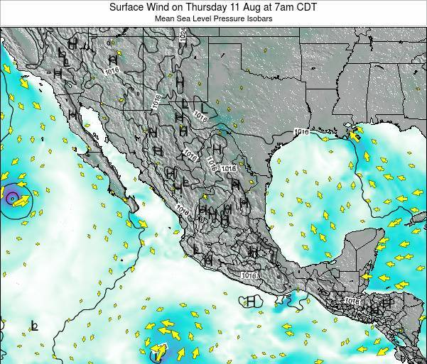Mexico Surface Wind on Sunday 23 Jun at 1pm CDT map