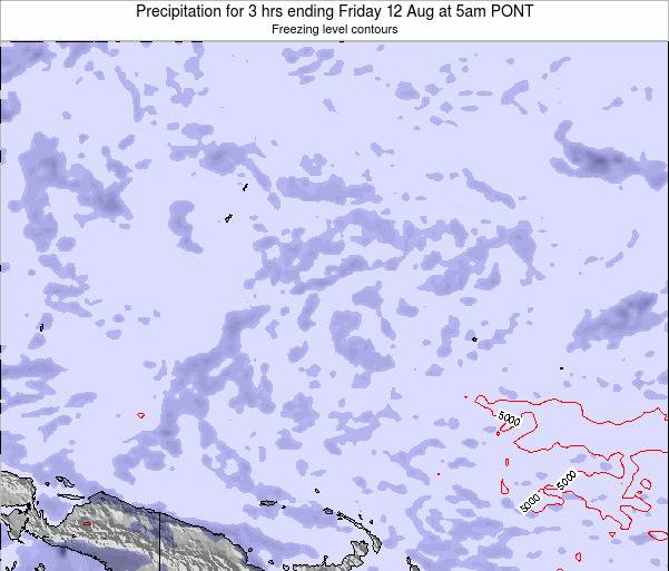 Micronesia Precipitation for 3 hrs ending Thursday 23 Aug at 11pm PONT map