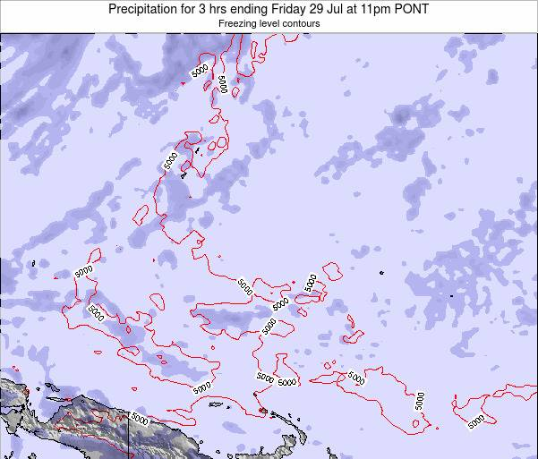 Micronesia Precipitation for 3 hrs ending Sunday 28 Oct at 11pm PONT map