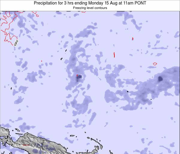 Micronesia Precipitation for 3 hrs ending Monday 01 Oct at 5am PONT map