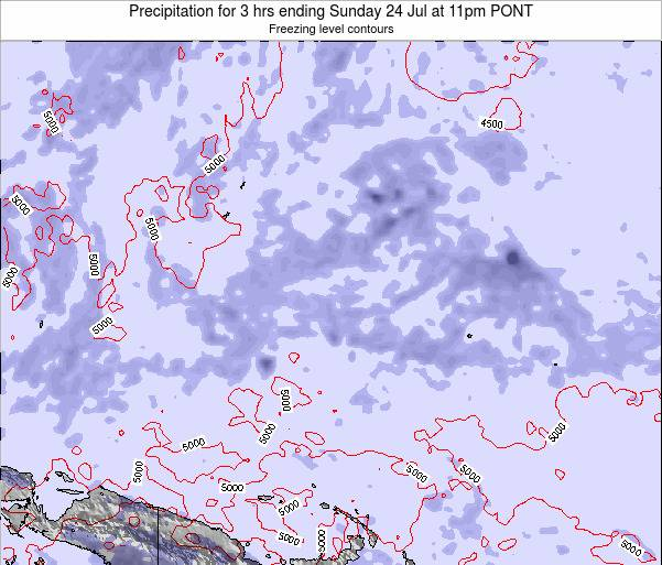 Micronesia Precipitation for 3 hrs ending Thursday 19 Jul at 11am PONT map