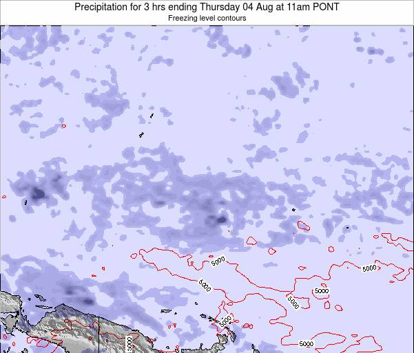 Micronesia Precipitation for 3 hrs ending Friday 25 Jul at 11pm PONT
