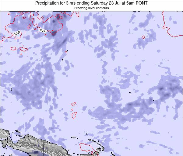 Micronesia Precipitation for 3 hrs ending Friday 18 Apr at 11am PONT
