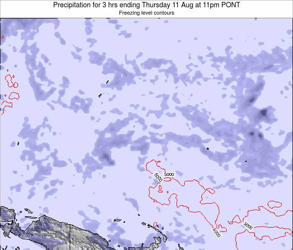 Micronesia Precipitation for 3 hrs ending Friday 14 Dec at 5am PONT map