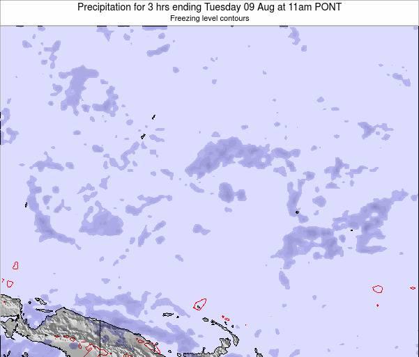 Micronesia Precipitation for 3 hrs ending Monday 28 Jul at 5am PONT
