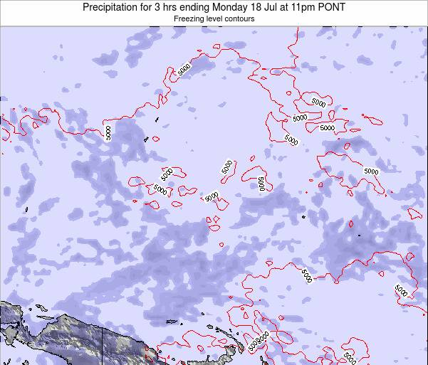 Micronesia Precipitation for 3 hrs ending Saturday 27 Jan at 11pm PONT map