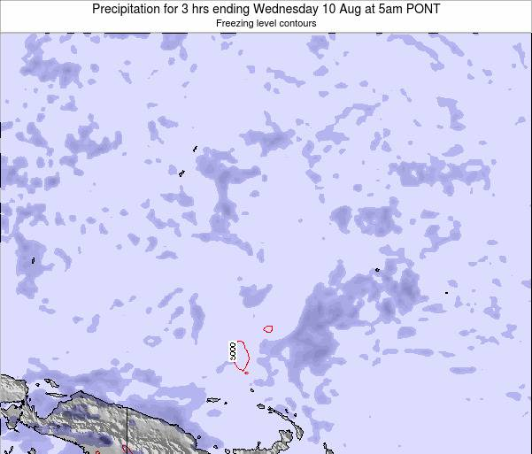 Micronesia Precipitation for 3 hrs ending Wednesday 25 Jul at 11am PONT map