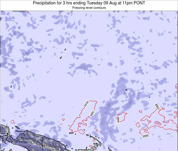 Micronesia Precipitation for 3 hrs ending Wednesday 28 Feb at 5am PONT map