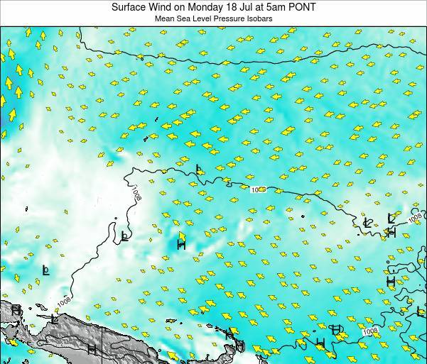 Micronesia Surface Wind on Monday 27 May at 11pm PONT