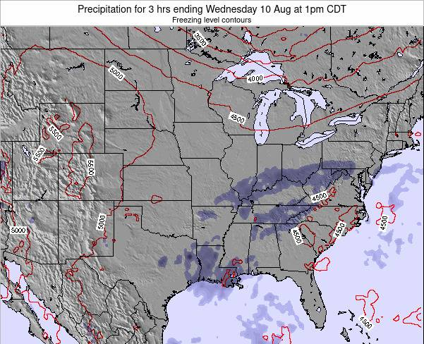 Illinois Precipitation for 3 hrs ending Saturday 24 Mar at 1am CDT map