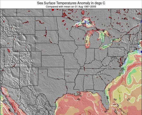 Iowa Anomalía de Temperatura del Mar Mapa