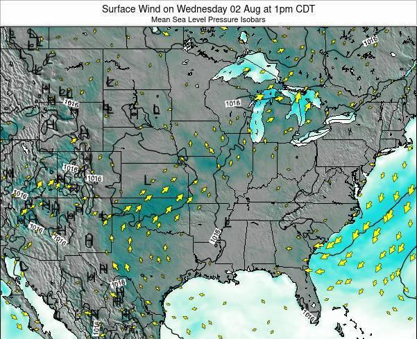 Iowa Surface Wind on Monday 18 Jun at 7pm CDT map