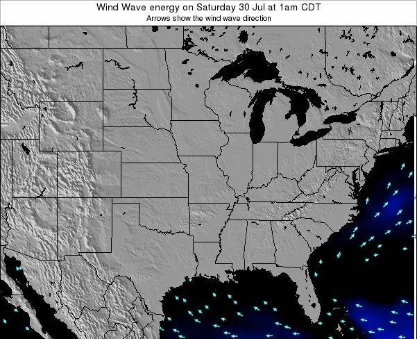 Iowa Wind Wave energy on Monday 16 Jul at 7pm CDT map