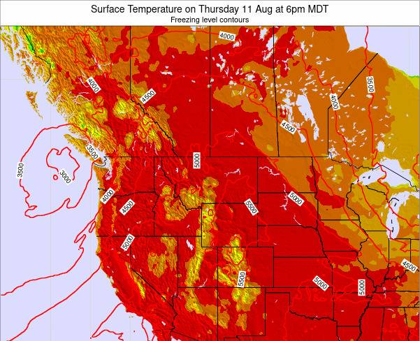 Montana Surface Temperature on Thursday 23 May at 6pm MDT map