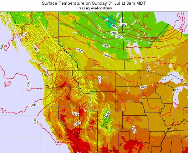 Montana Surface Temperature on Saturday 25 May at 12pm MDT map