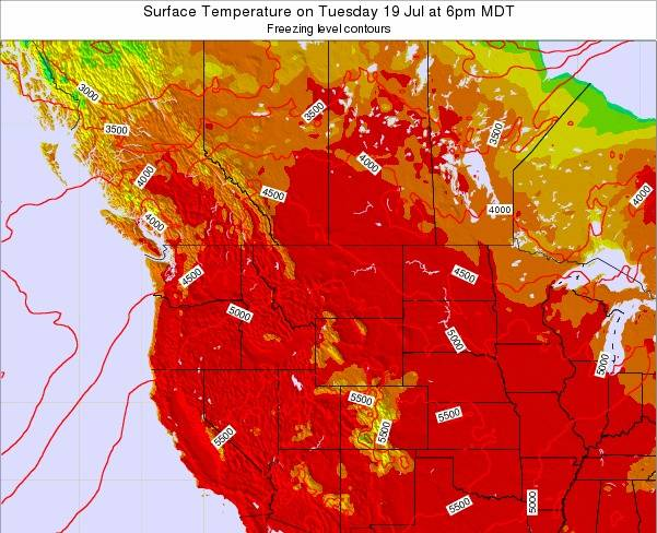 Montana Surface Temperature on Tuesday 28 May at 12am MDT map