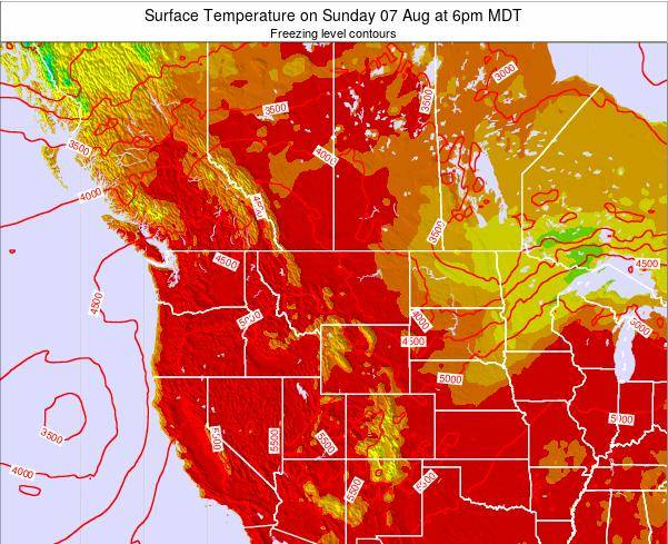 Montana Surface Temperature on Sunday 23 Jun at 6am MDT map