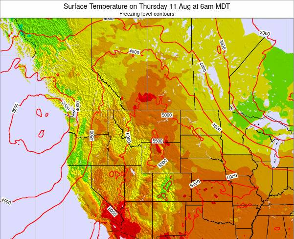 Montana Surface Temperature on Thursday 23 May at 6am MDT map