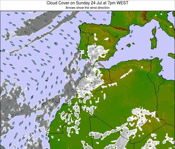 Morocco Cloud Cover on Tuesday 24 Jul at 1am WEST map