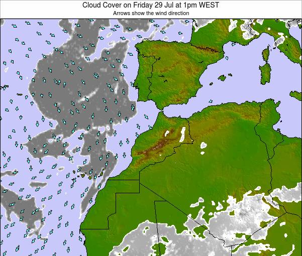 Morocco Cloud Cover on Wednesday 26 Sep at 7am WEST map