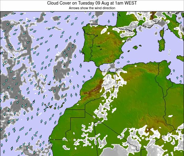 Morocco Cloud Cover on Friday 26 Jan at 12am WET map