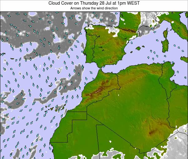 Morocco Cloud Cover on Tuesday 23 Oct at 7am WEST map