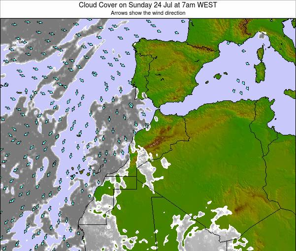 Morocco Cloud Cover on Sunday 25 Feb at 12am WET map