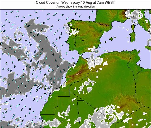 Morocco Cloud Cover on Wednesday 20 Dec at 6pm WET map